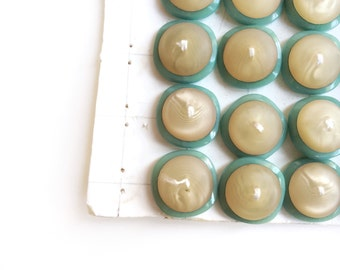 6 Sea foam & Beige Buttons, Large, Vintage