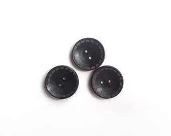 3 Black Wooden Buttons