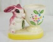 Vintage Pottery Egg Cup Rabbit Bunny Pink Rose Flower Handpainted Ceramic Japan