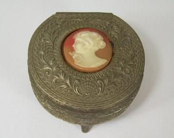 Vintage Cameo Metal Ornate Trinket Box Vanity Footed Velvet Lined Japan