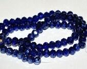20 pcs 6x4mm Transparent Dark Blue Sapphire Blue Cobalt Luster Rondelle Glass Beads