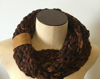 Golden Brown Shades Pure Merino Hand Dyed Cowl with Leather Cuff Accents, Chunky Infinity Scarf, Winter Accessories