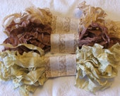 Crinkled Seam Binding Ribbon - 18 Yards - Toasty Bundle - Rustic, Shabby Chic, Beach, Cottage, French Country, Wedding Crookedbarnvintage