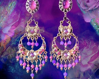 """Orchid Pink 2 Tier Gold or Silver Chandelier Earrings, 3"""" Long Hot Pink Crystal Earrings, Fantasy Floral Jewelry, Fuchsia Pink Flower, Light"""