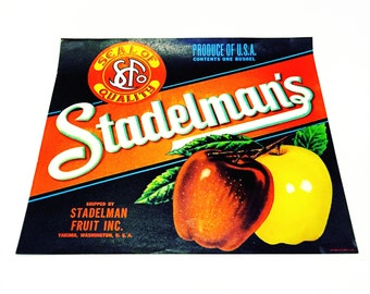 Vintage New Old Stock Unused STADELMAN'S Washington Apples Fruit Crate Label