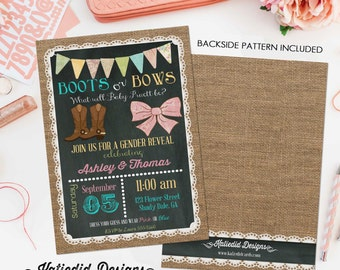 gender reveal invitation boots or bows lace cowboy burlap bunting chalkboard gender neutral baby shower (item 1410) shabby chic invitations