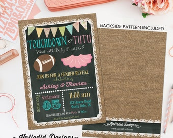 gender reveal invitation touchdown or tutu lace country rustic burlap bunting chalkboard gender neutral baby shower item 1431 shabby chic