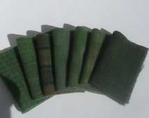 FOREST GREEN - 8x6 - Hand Dyed Felted Wool Fabric bundle for Wool Applique, Penny Rugs, Quilting, Sewing  #758
