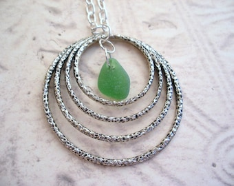 Hammered Silver Rings Pendant with Green Scottish Sea Glass, Long Necklace, Gift from Scotland
