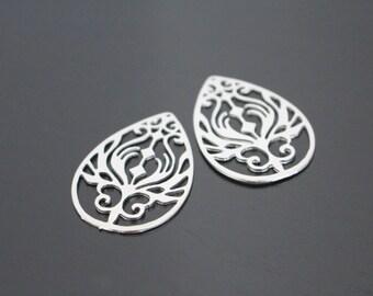 Jewelry findings, Matte Silver Tarnish resistant Bubble Teardrop Hoop pendant, connector, charm, PR72297
