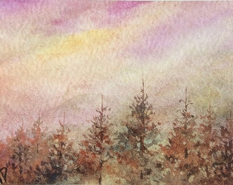 Original watercolor ACEO painting - Dusky woods