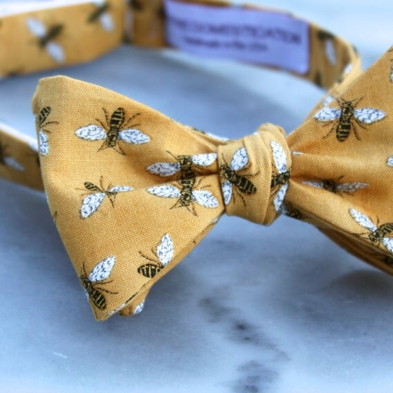 Men's Golden Bumble Bee Bow Tie - clip on, pre-tied adjustable strap or Self tying - freestyle