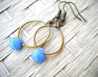"Brass and light blue drop earrings: ""A Far Sky"" - Gifts under 10 blue earrings, brass earrings, lace agate earrings, steampunk"