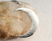 Silver Hammered Crescent Moon Necklace, large charm pendant minimal celestial modern birthday gift gifts