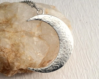 Rustic Silver Crescent Moon Necklace, large hammered pendant minimal celestial modern birthday gift for her woman