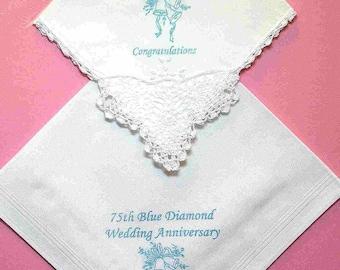 75th Blue Diamond Wedding Anniversary Handkerchief Gift Set for the Happy couple