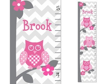 Growth Chart Pink Grey Yellow Owl