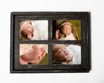 """2"""" Stacked 4 hole 8x10 Barn Window Collage Picture Frame - Brown & Black - Distressed Frame-Collage Frame-Picture Frames"""