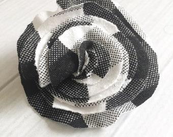 Plaid Hair Bow - Valentine Black and White Plaid Hair Clip - Buffalo Check Plaid Bow -  - Valentine Hair Bow - Flower Hair Clip