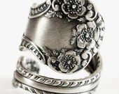 Buttercup Flower Ring, Floral Spoon Ring Sterling Silver, Handmade Ring, Antique Gorham Silver Cambridge 1899, Adjustable Ring Size (5919)