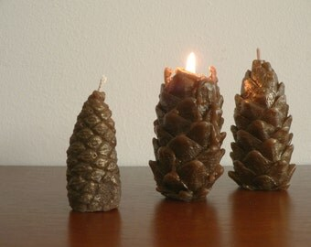 "Pine cones candles fall forest scented 3,35"" tall / Set of 3 candles / Nature lovers perfect gift / Home Garden Man Cave Woodland decor"