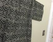 Handmade Black and White West African Geometric Pattern Inspired Kimono OOAK