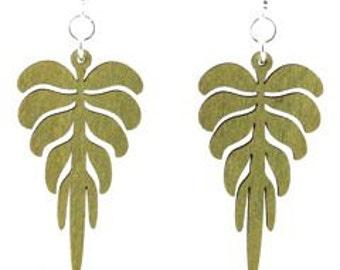 Leaf Geometric - laser cut earrings - sustainable wood