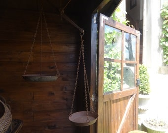 Antique French large iron balance weighing scales measures commercial induistrial agricultural scale tool circa 1850-1900's / English Shop