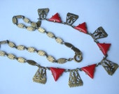 Art Deco Egyptian Revival Necklace Red Glass Triangles  1920's 1930s