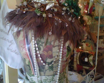 Garden Dress Form with Green Broach  Stripes and Floral