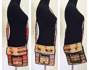 Boho Alpaca Wool Bag, Llama Design, cross body bag, Hand Made, Bolivia Souvenir, Our Brand is Crisis movie