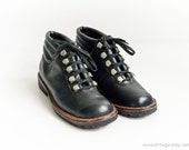 Vintage Black Leather Ankle Boots 7 / 8.5 Unisex Military Combat Ankle Boots