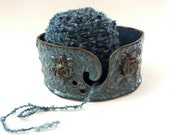 Ceramic yarn bowl blue with roses handmade knitting bowl yarn holder