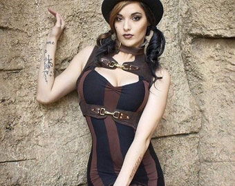 Steampunk Dress - Striped Dress - Made to Order - Halloween Dress