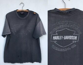 Vintage Distressed Harley Davidson Ventura Camarillo T Shirt XL