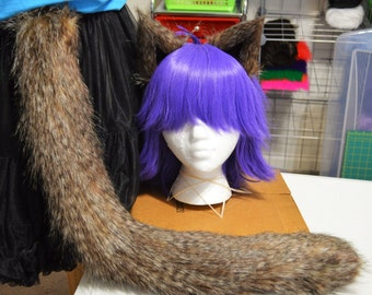 READY TO SHIP! Salt and Pepper Tanuki Fur Cat Tail and Ears Set