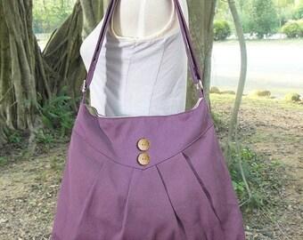 Holiday On Sale 10% off purple cross body bag / messenger bag / shoulder bag / diaper bag  - cotton canvas