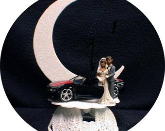 Hispanic, African Black American w/ Sexy Black Camero Groom top wedding cake topper racing Hot roc car show