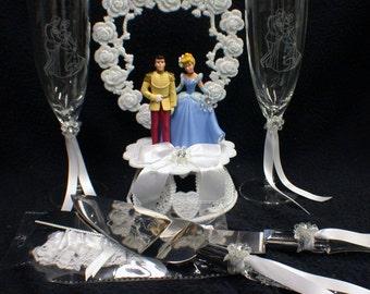 Cinderella Prince Charming Fariytale LOT Disney Wedding Cake Topper, Glasses, Knife, Server, Garter