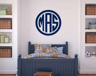 Monogram Wall Decal Circle Monogram Wall Decal Vinyl Decal Initials  Personalized Circle Decal Boy Bedroom Decal Part 81