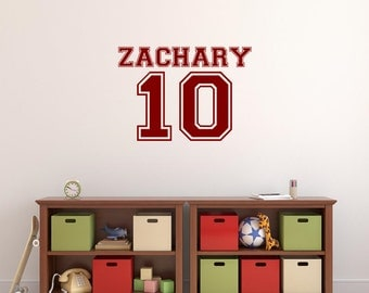 Personalized Varsity Wall Decal Varsity Name Number Wall Monogram Boys Wall Decal Sports Decal Athletic Theme Decor