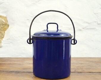 French Berry Pail Deep Blue Enamel canister royal blue cobalt