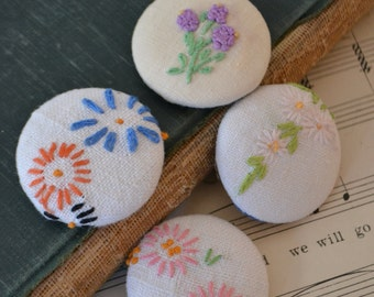 Vintage Handmade Floral Fabric Magnets Set of 4 - #4