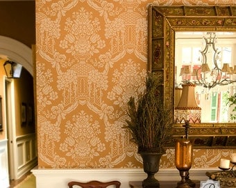 Large Damask Wall Stencil - Classic Traditional Wallpaper Look - European and Vintage Style Wall Mural Decor