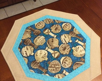 Quilted Native American Table Topper, Pottery, Southwest