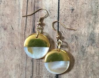 Gold dipped seashell earrings