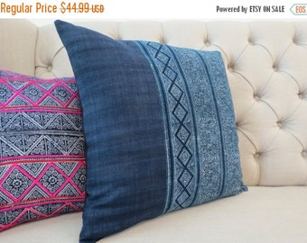 ON SALE, Vintage Indigo batik Hmong cushion cover, Handmade Batik Fabric,Decorative Cushion,Throw Pillow,Decorative Pillow