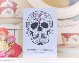 Love Sugar Skull Pack of 10 Handmade Wedding Invitations