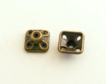 Antique Brass Pyramid Bead Caps 7mm (20 pcs) Z-N1438-AB