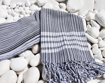 Turkishtowel-Soft-Hand woven,warp&weft cotton Bath,Beach Towel-net working draft weave pattern,weft colors-Grey and white stripes